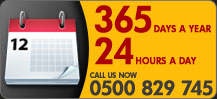 Calendar graphic for Private Security Services, available 24/7, 365 days a year on phone number 0500 829 745, Lincolnshire